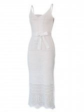 Solid Crochet Hollow Out Tie Wrap Sleeveless Midi Dress