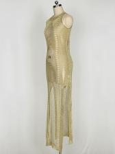 Sexy Hollow Out Crochet Split Hem Sleeveless Maxi Dress