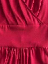 Solid v Neck Lantern Sleeve Ladies Jumpsuits