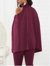 Slim Cloak Design Lace Up Jumpsuit