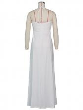Deep V Neck Lace Detail High Split Evening Maxi Dresses