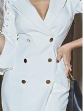 DoubleBreasted Bandage Half Sleeve Short Dress