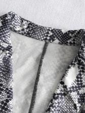 Stylish Snakeskin Printed Long Sleeve Women Suits