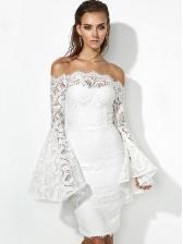Elegant Solid Flare Sleeve Off The Shoulder Lace Dress