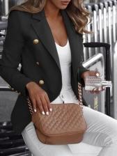 Double-Breasted Long Sleeve Women Blazer