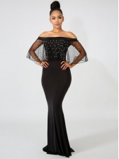 Plus Size Faux Pearls Tulle Sleeve Off The Shoulder Maxi Dress