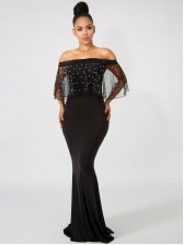 Plus Size Pearls Tulle Sleeve Off The Shoulder Maxi Dress