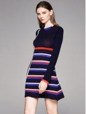 Striped Long Sleeve Knitting Dress