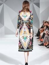 Vintage Ruffled Printed Long Sleeve Midi Dress