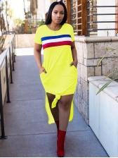 Side Pockets Split Hem Striped Long T Shirt Dress
