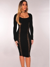 Hollow Out Solid Color Off The Shoulder Bodycon Dress