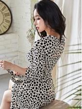 Leopard Printed Split Long Sleeve Maxi Dress