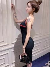 V Neck Backless Crossed Belt Sleeveless Dress