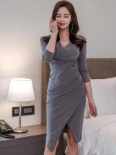 Sexy Split Pleated Long Sleeve Bodycon Dress
