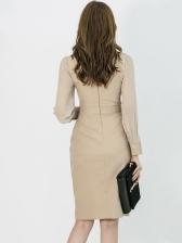 OL Style Slim Waist Long Sleeve Bodycon Dress