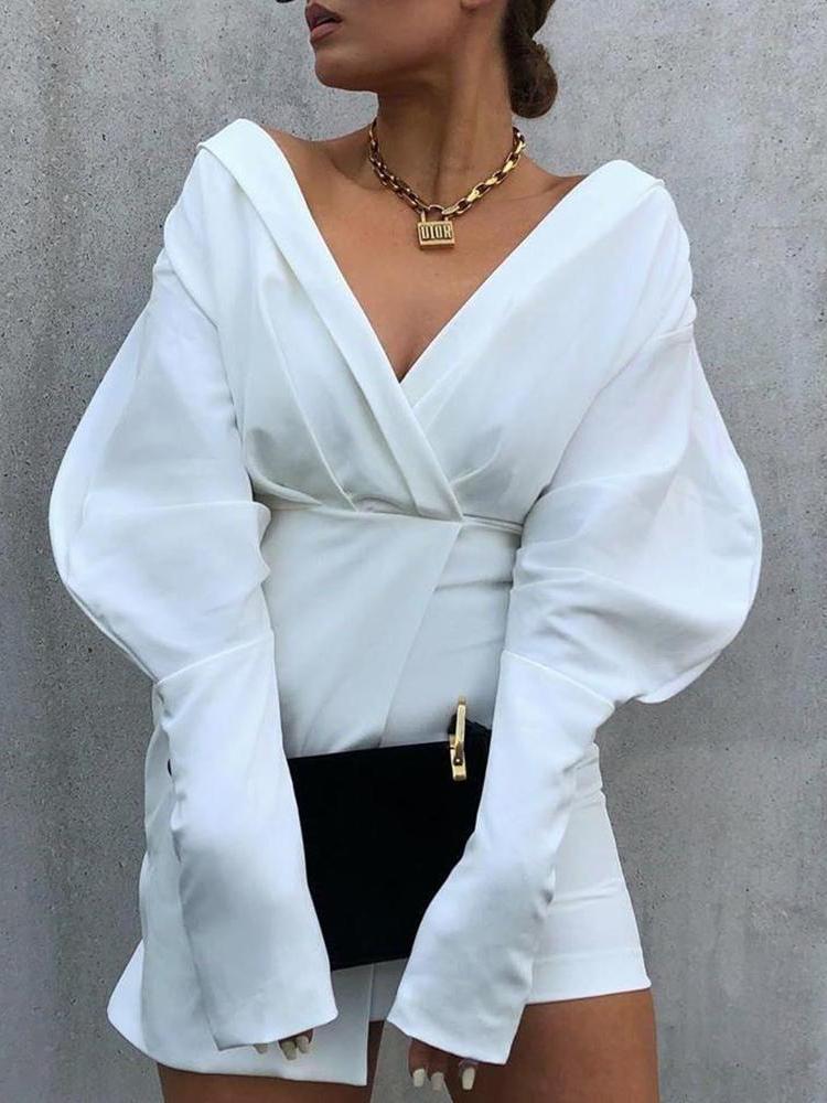 New Style v Neck Long Sleeve Mini Dress