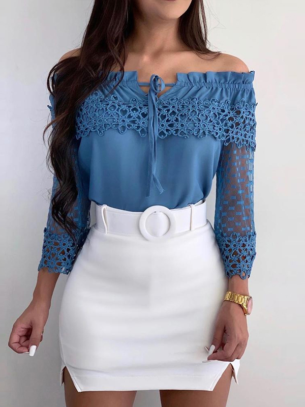 Lace Patchwork Hollow Off Shoulder Blouse