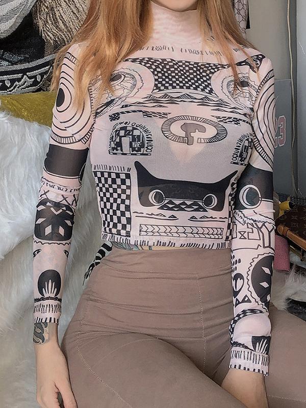 Mock Neck Long Sleeve T Shirt Printing