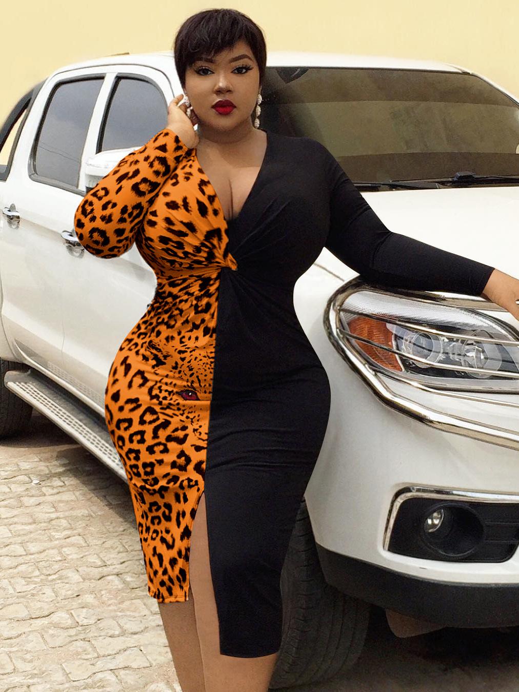 Leopard Patchwork Split Plus Size Dresses