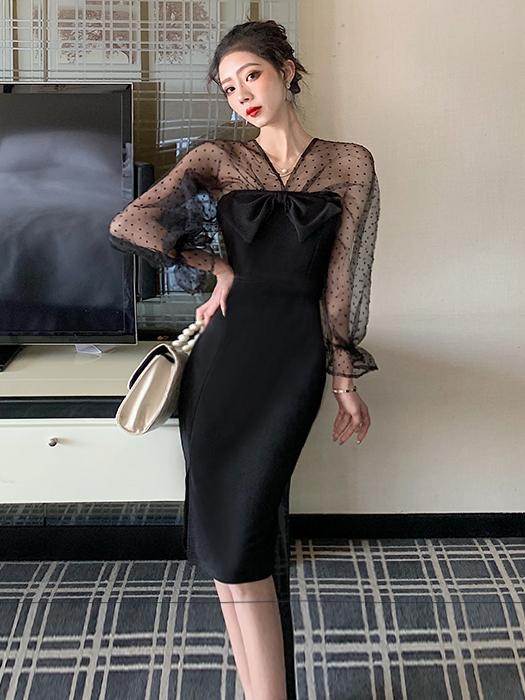 Bow Decor Gauze Patchwork Black Long Sleeve Dress