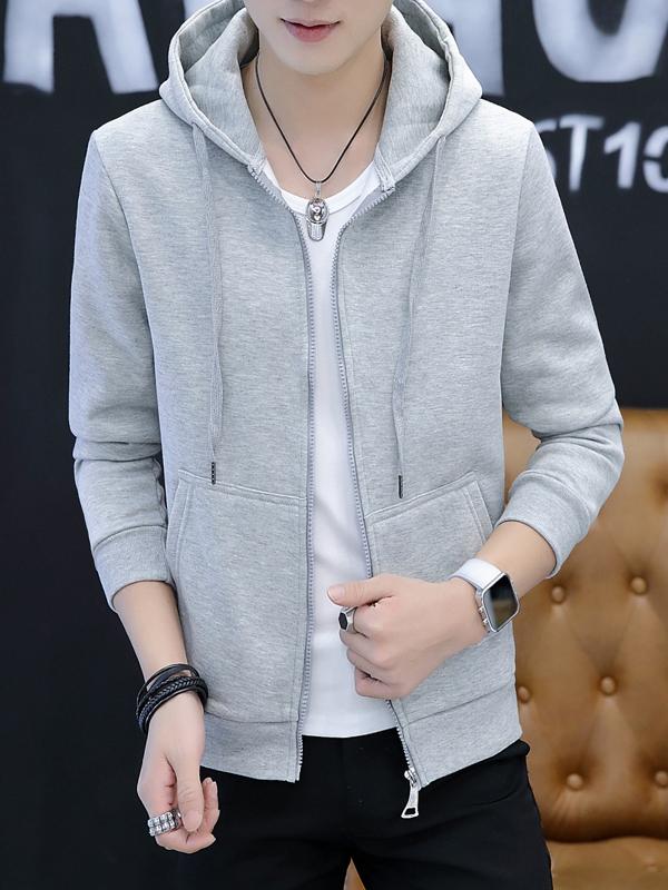 Fashion Solid Long Sleeve Zip Up Hoodies