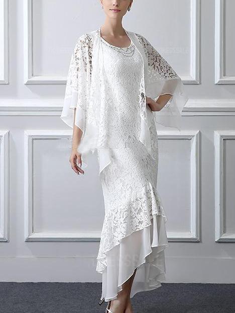 Irregular Cape Patchwork White Lace Maxi Dress