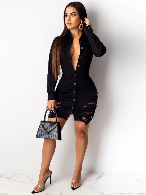 Sexy Ripped Long Sleeve Denim Dress