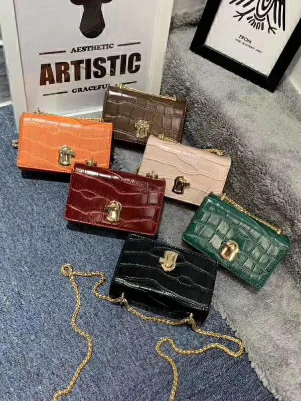 Solid Stone Grain Golden Chain Mini Crossbody Bags