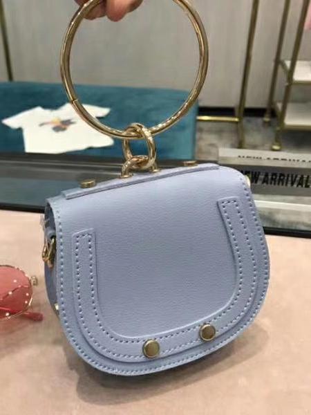 Metal Ring Handle Solid Color Handbags For Women