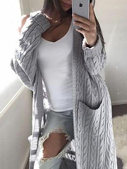 Solid Pockets Long Knit Cardigan