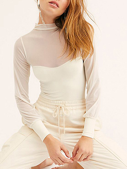 Mock Neck Gauze Patchwork Long Sleeve Blouse