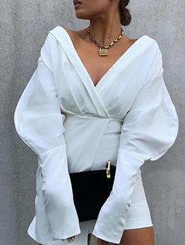 New v Neck Long Sleeve Mini Dress