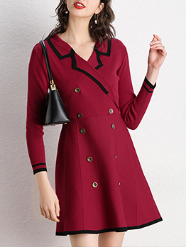 Double Breasted Knitting Long Sleeve Dress