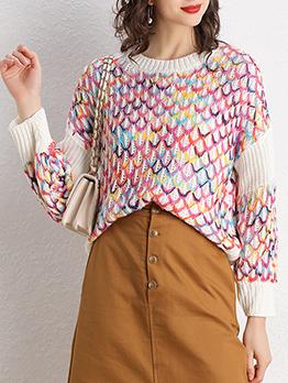 Loose Contrast Color Net Ladies Sweater