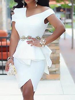 Stylish Irregular Ruffled Short Sleeve Dress