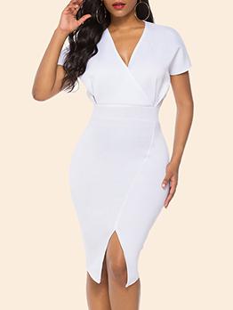 Elegant Split v Neck White Short Sleeve Dress