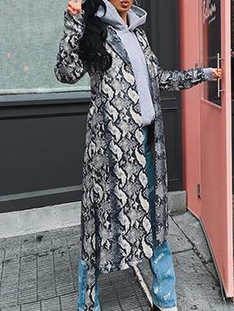 Autumn Snake Print Tie-Wrap Long Coat For Women