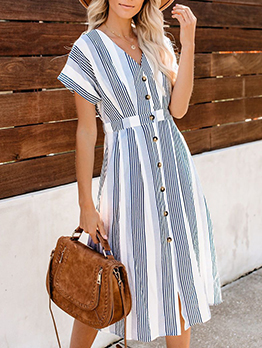 Single-Breasted Striped Bat-Wing Sleeve Summer Dresses