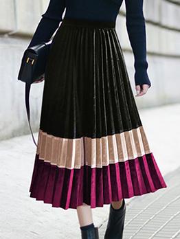 Contrast Color Velvet Pleated Skirt
