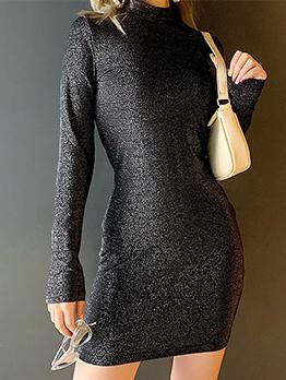 Mock Neck Glitter Slim Long Sleeve Bodycon Dress