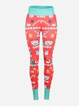 Contrast Color Christmas Cartoon Printed Slim Leggings