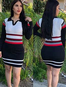 Autumn Contrast Color Long Sleeve Bodycon Dress