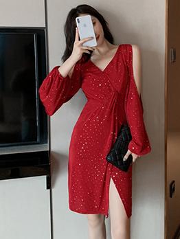 Shinny Cold Shoulder Split Red Long Sleeve Dress