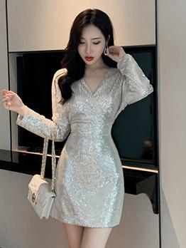 Night Club V Neck Long Sleeve Sequin Dress