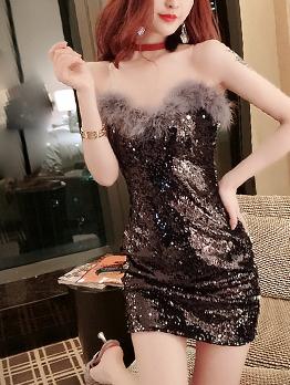 Sexy Fur Patchwork Sleeveless Sequin Dress