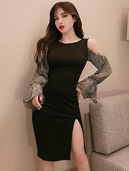 Cold Shoulder Flare Sleeve Split Black Dress