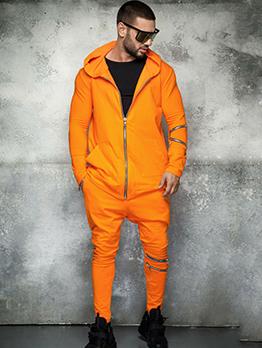 Solid Front Zip Up Men's Athletic Wear