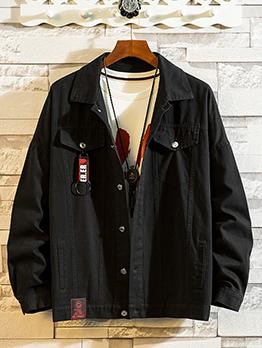 Casual Solid Button Down Men Denim Jacket