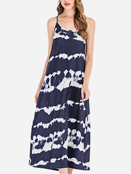 Casual Tie Dye Sleeveless Maxi Dress