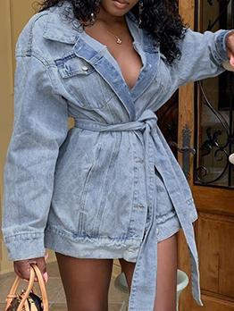 Loose Solid Long Sleeve ShortDenim Dress